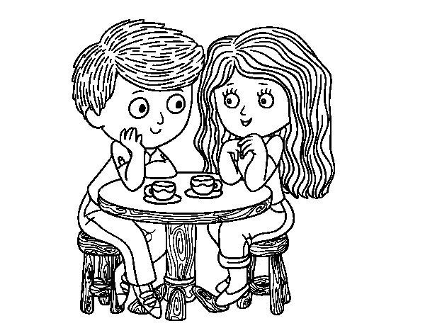 Desenho de Crianças bebendo café para Colorir
