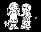 Dibujo de Crianças no campo
