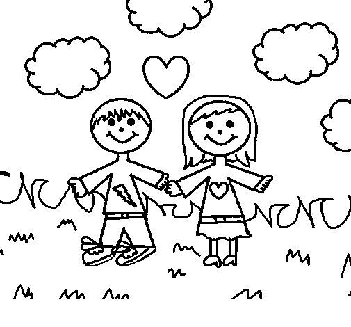 Desenho de Crianças no parque para Colorir