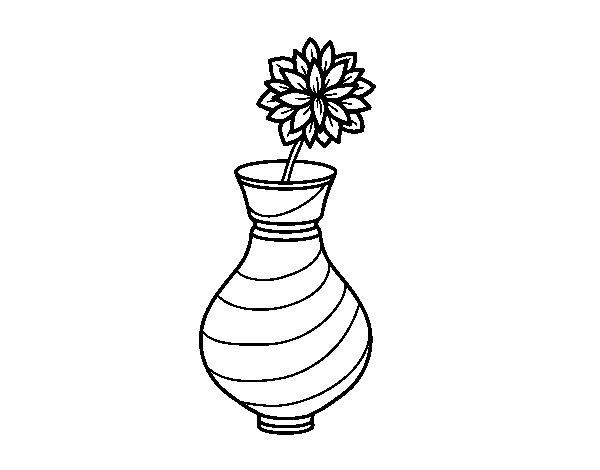 Desenho de Crisântemo em um vaso para Colorir