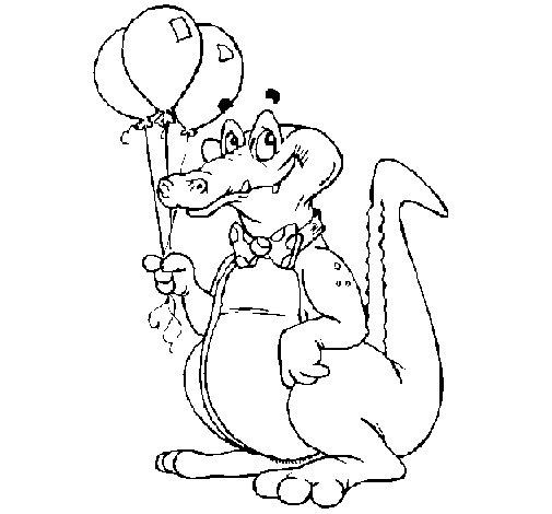 Desenho de Crocodilo com balões para Colorir