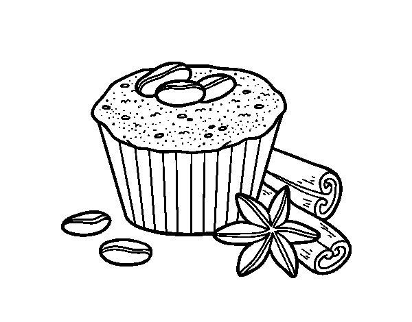 Desenho de Cupcake de café para Colorir