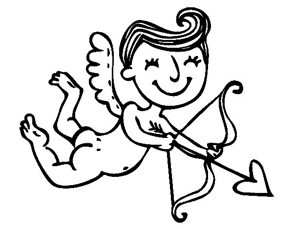 Desenho de Cupido contente com seta para Colorir