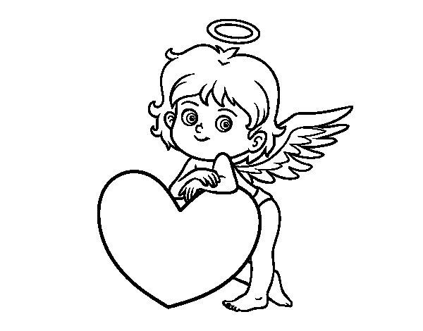 Desenho de Cupido e um coração para Colorir