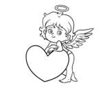 Desenho de Cupido e um coração para colorear