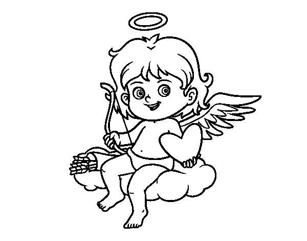 Desenho de Cupido em uma nuvem para Colorir