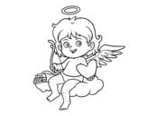 Dibujo de Cupido em uma nuvem