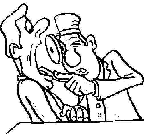 Desenho de Dentista a examinar para Colorir