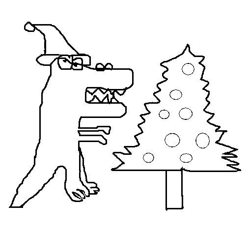 Desenho de Dinosaur Natal para Colorir