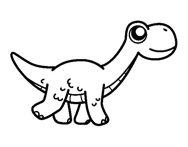 Desenho de Diplodoco feliz para Colorir