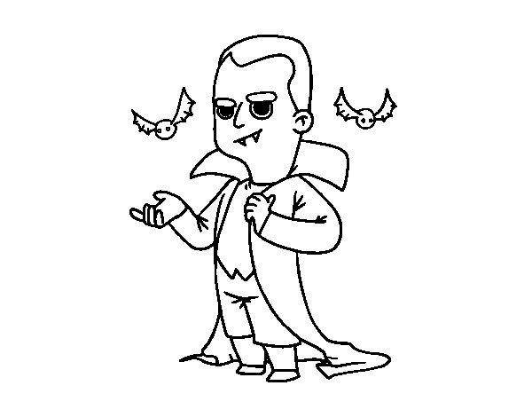 Desenho de disfarce de vampiro do halloween para colorir - Pagina da colorare per halloween ...
