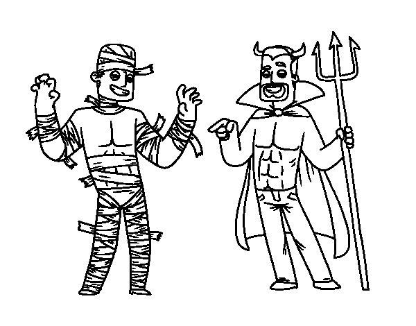 Desenho de Disfarces do Halloween para Colorir