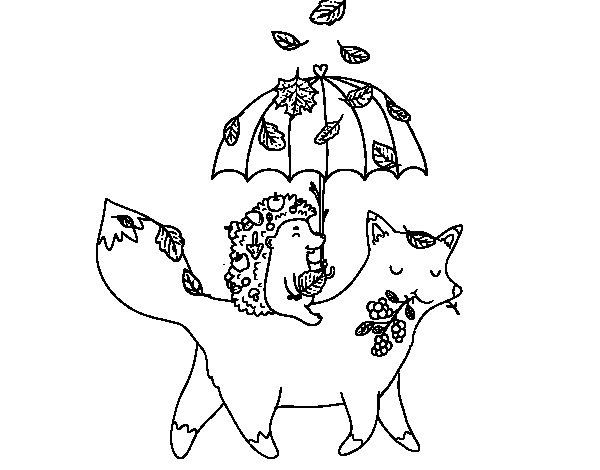 Desenho de Dos animais e el outono para Colorir