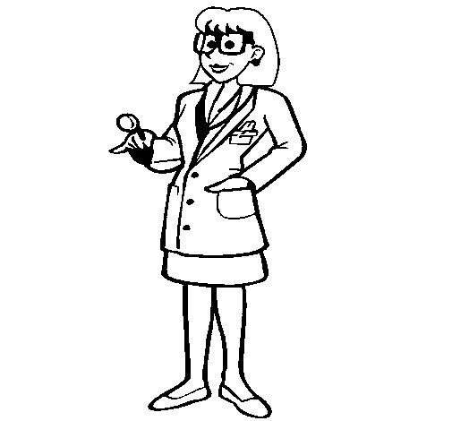 Desenho de Doutora com óculos para Colorir
