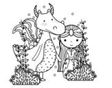 Desenho de Dragão e princesa para colorear