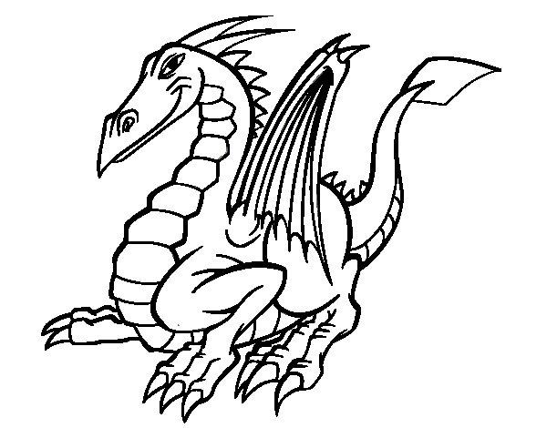 Desenho de Dragão elegante para Colorir