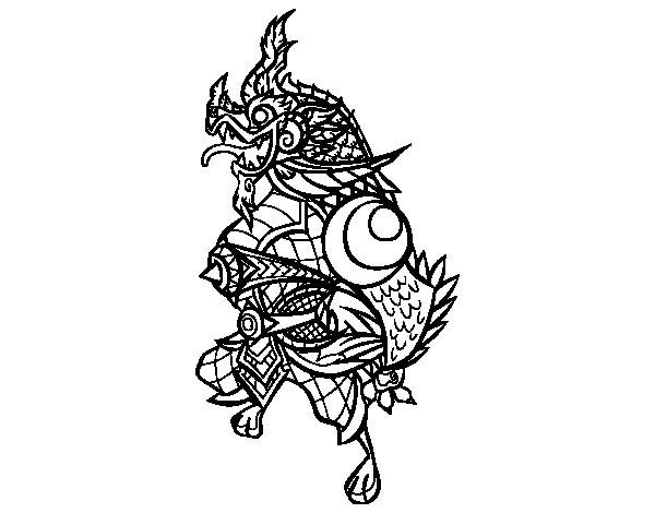 Desenho de Dragão guardião para Colorir