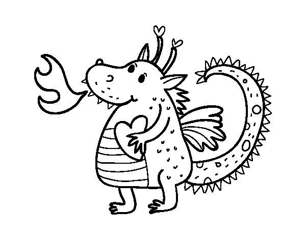 Desenho de Dragão infantil para Colorir