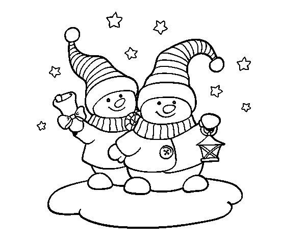 Desenho de Duas bonecas de Natal para Colorir