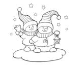 Desenho de Duas bonecas de Natal para colorear