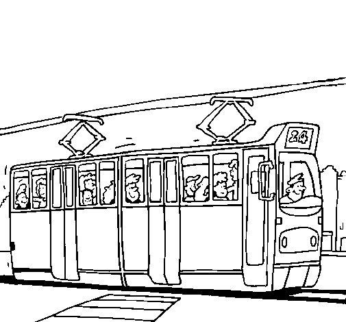 Desenho de Eléctrico com passageiros para Colorir