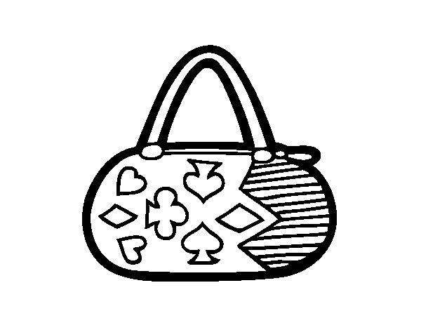Desenho de Embreagem com motivos de jogo de cartas para Colorir