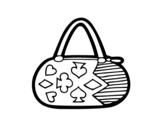 Desenho de Embreagem com motivos de jogo de cartas para colorear