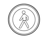 Desenho de Entrada proibida para pedestres para colorear