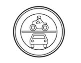 Desenho de Entrada proibida para veículos a motor para colorear
