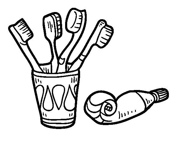 Desenho de Escovas e pasta de dentes para Colorir