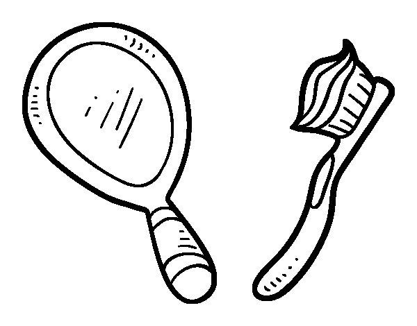 Desenho de  Espelho e escova de dentes para Colorir