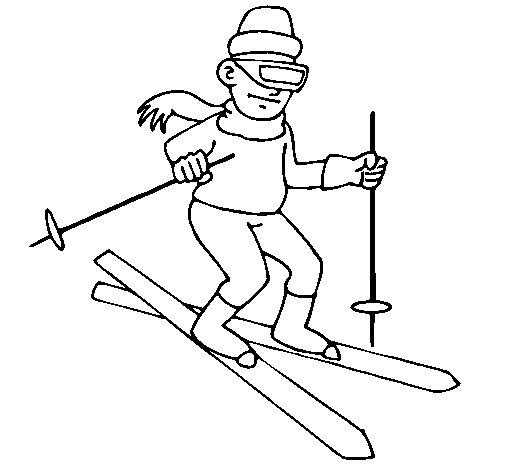 Desenho de Esquiador II para Colorir
