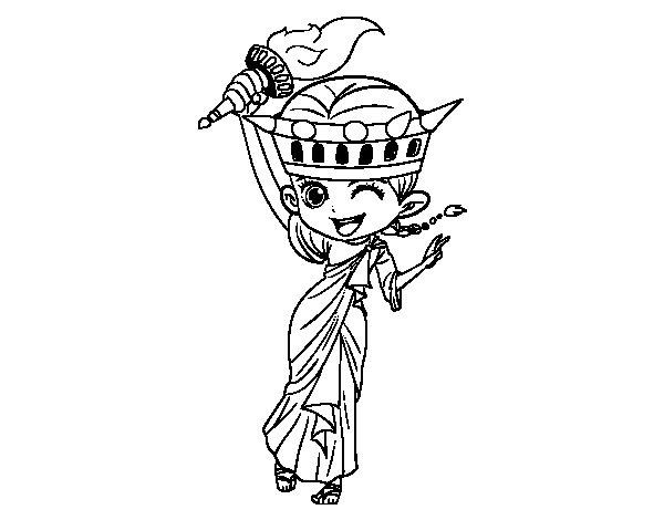 Desenho de Estátua da liberdade manga para Colorir