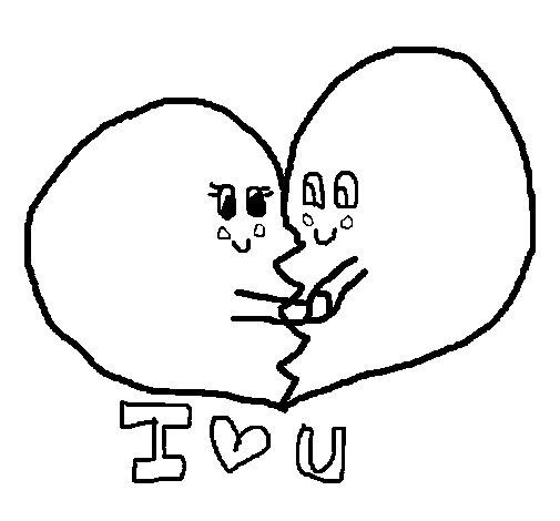 Desenho de Eu te amo para Colorir