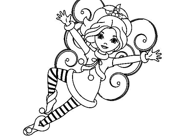Desenho de Fada duende de Natal para Colorir