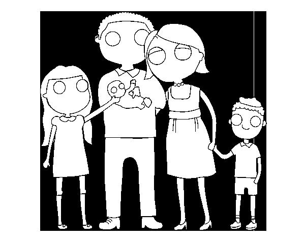 14629863 Gran Familia Feliz En El Estilo De Dibujos Tarjetas De