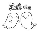 Desenho de Fantasmas o dia das bruxas para colorear
