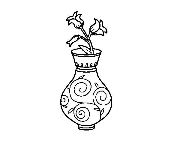 Desenho de Flor de convolvulus em um vaso para Colorir