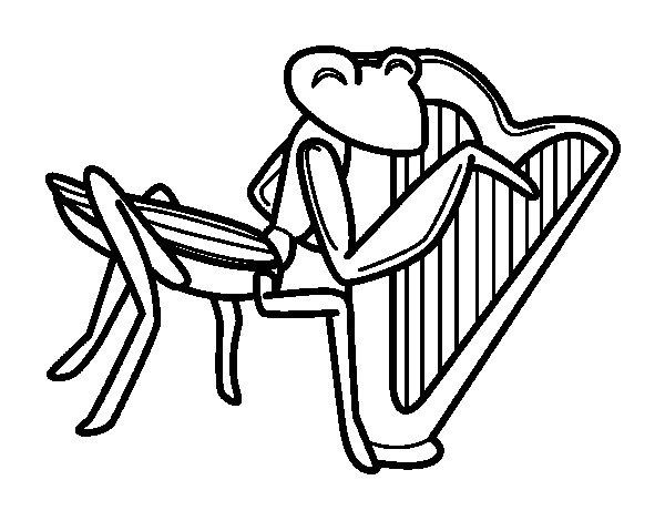 Desenho de Gafanhoto com harpa para Colorir