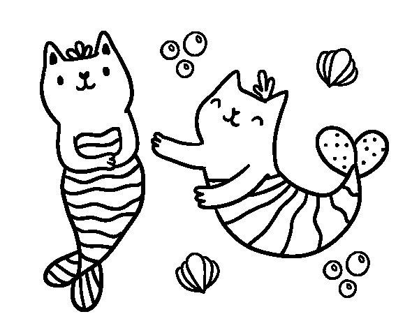 Desenho de Gatos da sereia para Colorir
