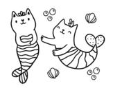 Desenho de Gatos da sereia para colorear