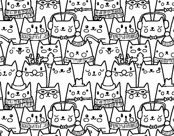 Desenho De Gatos Do Natal Para Colorir
