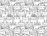 Desenho de Gatos do Natal para colorear