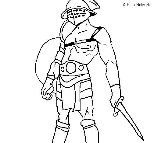 Desenho de Gladiador para Colorir