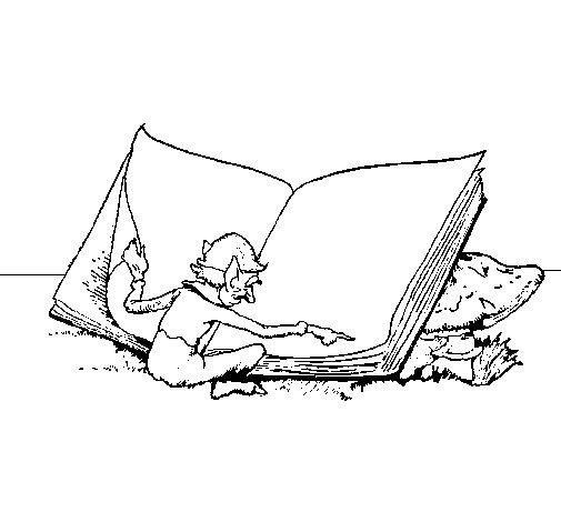 Desenho de Gnomo a ler para Colorir