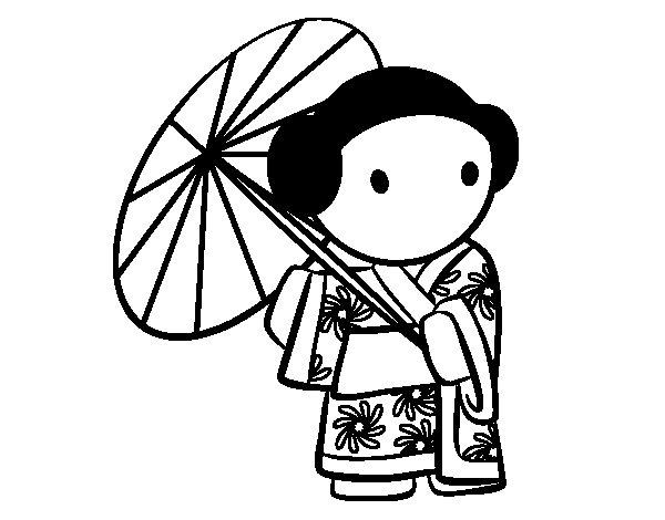 Desenho de Gueixa com guarda-chuva para Colorir