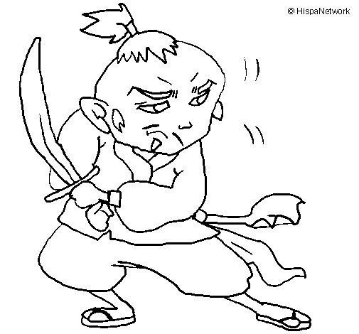 Desenho de Guerreiro com espada para Colorir