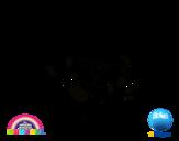 Desenho de Gumball e amigos felizes para colorear