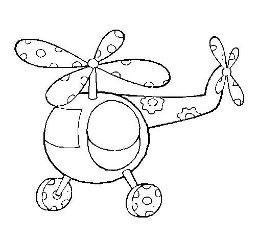 Desenho de Helicoptero enfeitado para Colorir