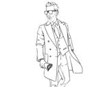 Desenho de Homem no terno para colorear